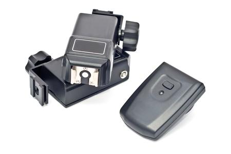 トリガー: 白い背景の上の無線のトリガー (受信機および 2 つのトランスミッタ) 写真素材