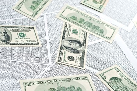 Rows of numbers on a spreadsheet and dollars. Stock Photo - 9085063