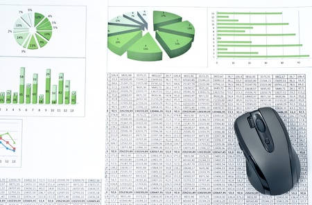 Black mouse on a stock chart and spreadsheets. Studio shot photo