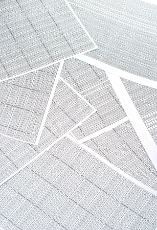 spreadsheets: Rows of numbers on a spreadsheet. Studio shot