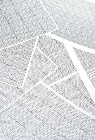 스프레드 시트: Rows of numbers on a spreadsheet. Studio shot