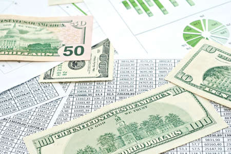 Chard, diagram and spreadsheets with dollars on it. Stock Photo - 9085155