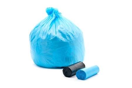 Blue garbage bag  isolated on a white background. photo