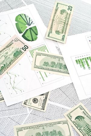 Chard, diagram and spreadsheets with dollars. photo