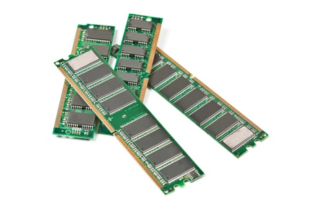 Heap of DDR RAM sticks isolated on white background photo