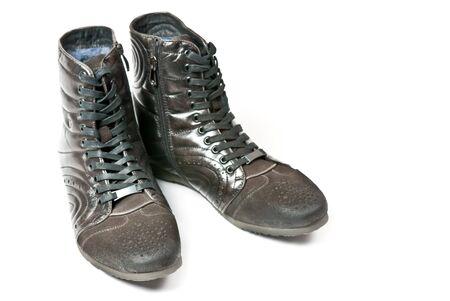 Men's black leather shoes isolated on white background Stock Photo - 9323169