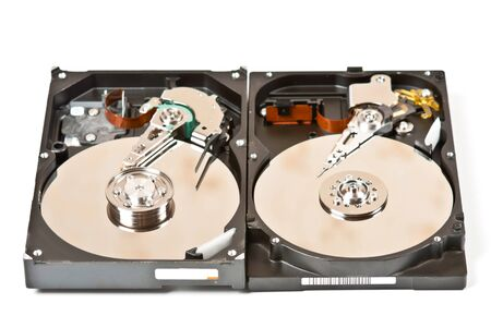 Two opened hard drive isolated on white background photo