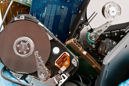Discarded, used and old computer hardvware. Stock Photo