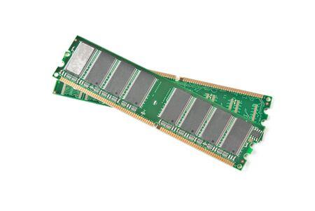 gigabytes: Two DDR RAM sticks isolated on white background