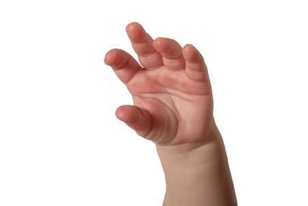 males only: Small child hand isolated on white background Stock Photo