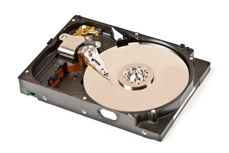 One opened hard drive isolated on white background photo
