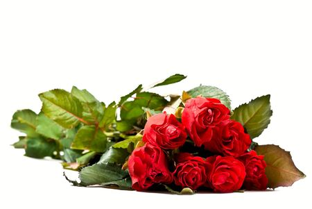 fv: Red rose bouquet isolated on white