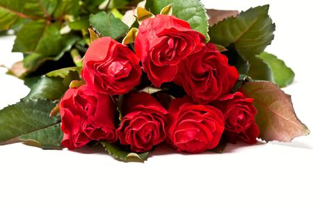 fv: Red rose bouquet isolated on white background