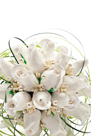 Detail of a bridal bouquet. On white background photo