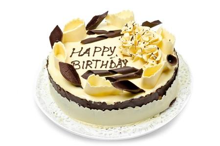 tortas cumpleaÑos: Pastel de chocolate con el cumpleaños feliz en que las palabras Foto de archivo