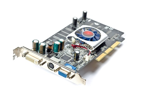 Video card with three outputs on a white background photo