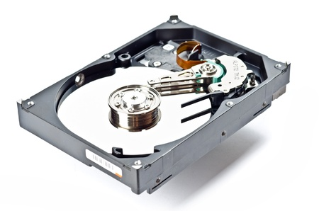databank: Computer hard disc isolated on white. With shadow Stock Photo