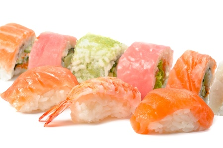 Set of different sushi cakes, over white photo