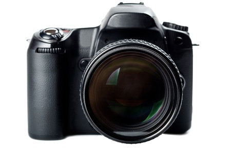 slr camera: Black digital camera isolated on white.Focus on the lens.