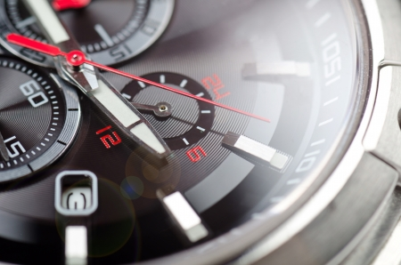 luxury watches: Sport black and red wristwatch. Macro shot