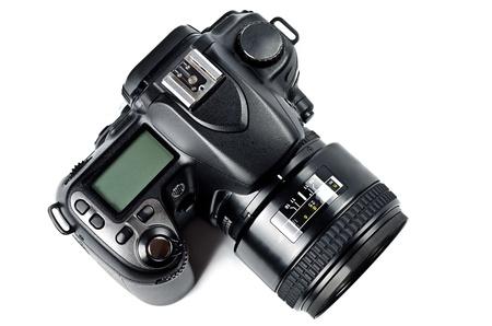 digicam: Black digital camera isolated on white background Stock Photo
