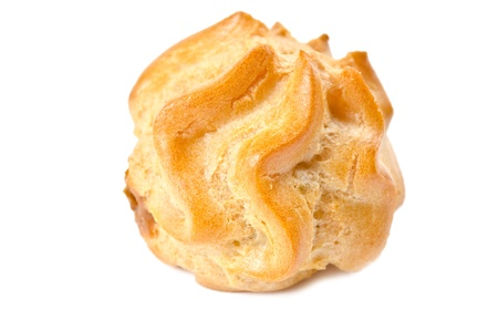 One fresh cream puff isolated on white photo