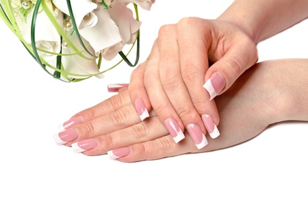 french manicure sexy woman: Nice manicured woman palms with flowers on white background Stock Photo