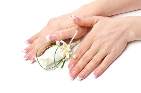 Female hands with perfect manicure and flowers - beauty treatment Stock Photo - 12934565