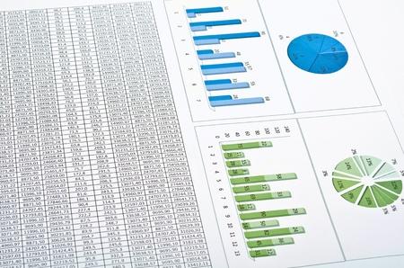 스프레드 시트: 다이어그램, 차트 및 번호와 비즈니스 정물화
