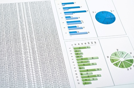 analyze: Business still-life with diagrams, charts and numbers Stock Photo