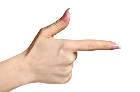 Female hand pointing with the finger, could be pressing or pushing. Isolated on white photo