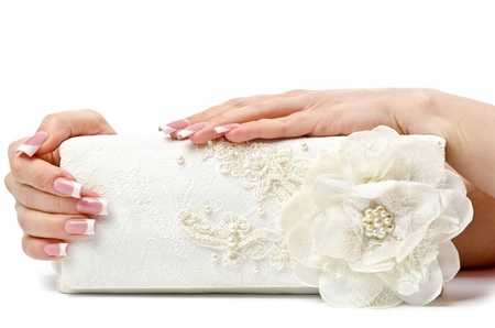 french woman: Perfect manicure on female hands. White background Stock Photo