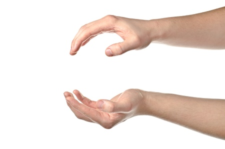 cupped hands: Male hands open isolated on white background Stock Photo