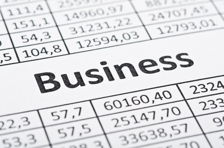 business focus: Rows of numbers and word business. Focus in center Stock Photo
