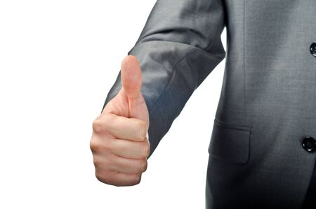 Businessman hand showing thumbs up isolated on white photo