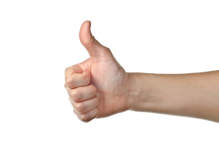hitch hiker: Male hand showing thumbs up isolated on white