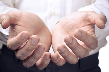 Businessman hands as if holding something. Focus on finger-tips Stock Photo - 13425047