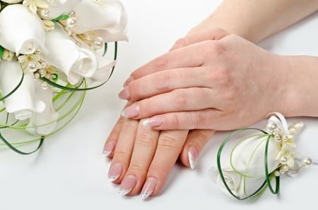 Female hands with perfect manicure and flowers - beauty treatment Stock Photo - 13425049