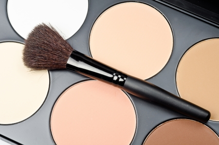 neutral face: Professional makeup brush and cosmetics
