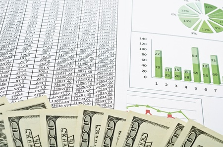 Business still-life with diagrams, charts and numbers photo