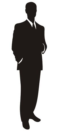 strict: Silhouette of the businessman in a strict suit on a white background