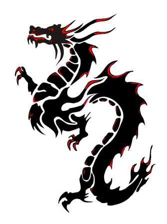 black and white dragon: Silhouette of a black dragon on a white background Stock Photo
