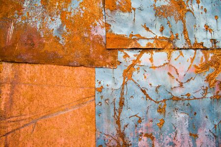 abstruse: Color painted iron sheet with rust as background