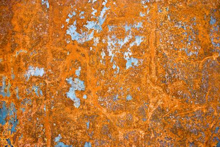 Color painted iron sheet with rust as background