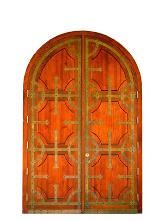 Wooden gate forged by iron