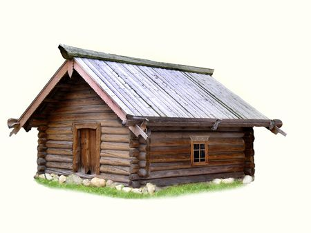 huts: peasants log hut