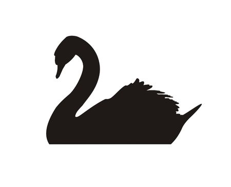 Black silhouette of a floating swan on a white background