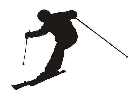 mountain skier: Black silhouette of the skier on a white background Stock Photo
