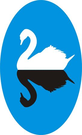 Silhouette of a white swan with black reflection on a blue background
