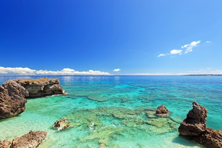 The sea of the beautiful coral of Okinawa Stock Photo
